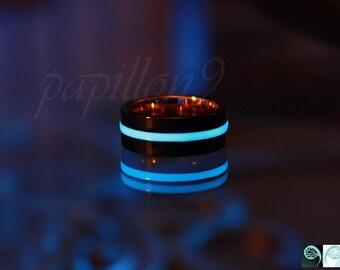 BLACK Ring / Glow in the Dark / Stainless Steel Ring / Glow Ring / Rose Gold Ring /