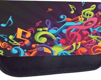 Colorful Musical Clef Music Design - Girls / Boys Black Pencil Bag - Pencil Case