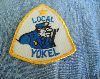 Vintage 1970s CB Radio Embroidered New Old Stock  patch LOCAL YOKEL