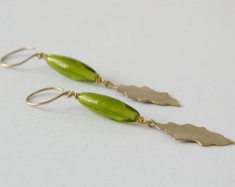 HANDMADE EARRINGS with oak shaped BRASS leaf and bright grass green glass, Nature Jewelry, Italian Handmade, Original Design, Gift for Her