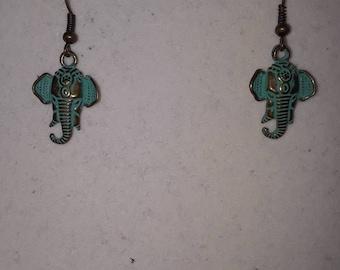 Patina elephant earrings