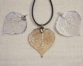 SALE Leaf Necklace, Copper Aspen Leaf, Real Aspen Leaf, Aspen Leaf, Gold Aspen Leaf, Real Leaf Necklace, Silver Aspen Leaf Pendant, SALE289