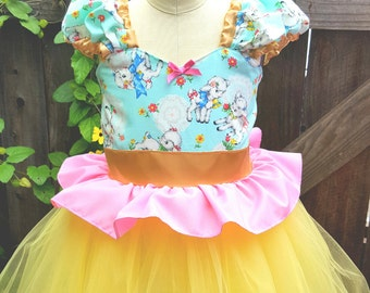 Girls yellow tutu dress, 7/8, Easter dress, Romantic dress, Shabby chic dress, lambs, Spring dress, tutu dress, kawaii dress, girls dress