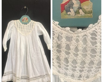 Vintage Baby Clothes Heirloom Antique Crochet Christening Gown
