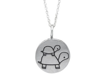 New Baby Necklace -  Turtle Necklace - Dad Necklace