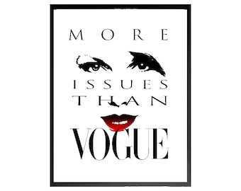 More Issues Than Vogue, Red Vogue, Printable Art, Fashionista, Vogue Poster, Brand, Wall Decor, Vogue Fashion, Wall Art, Red Vogue Poster