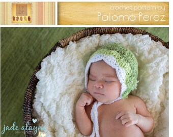 INSTANT DOWNLOAD - Crochet Baby Bonnet  Pattern - Sweet bonnet crochet pattern - Baby hat crochet pattern