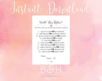 Printable Instant Download Bridal Shower Game - Would They Rather - Wedding Shower Game - Wedding Game  (Instant Download)