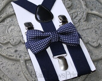 Kids Boys Baby Suspenders Navy Blue bow tie 6mo-2T 3T 4T 5T baby prop Set navy, Ring bearer
