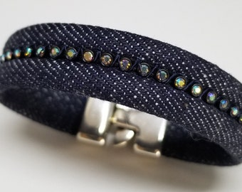 Denim and Rhinestone Bracelet with Silver Toggle Clasp