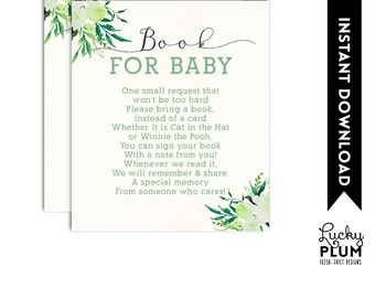 Lamb Book Card / Sheep Book Card / Lamb Bring A Book / Lamb Book for Baby / Woodland Book Card / Flower Spring DIY Printable LB01