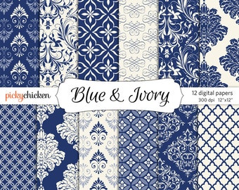 Blue Damask Digital Paper - Ivory & Navy formal background paper 12x12 delft chinoiserie indigo printable graphic Instant Download 8031