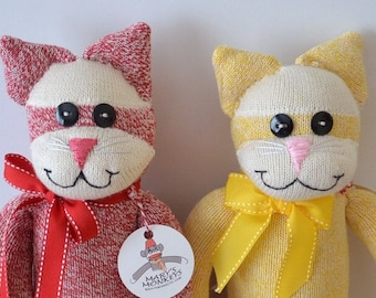 Sock Monkey Kitty Cat Doll with or without Personalized Heart Tattoo. Available in Yellow and Red