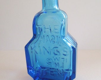 Vintage Wheaton colbalt blue apothecary glass tiny bottle with cork Weaton markings used