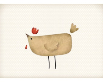 DIGITAL Chicken art-postcard sized instant download from original illustration-print your own-digital file