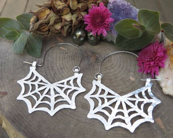 spider web earrings, web hoops, metal spiderweb hoop earrings