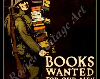 "WWI Patriotism ""Books Wanted"" Public Service Poster circa 1912 - Giclee Art Print - Library Art - Books Poster - Reading - Reader Gift"