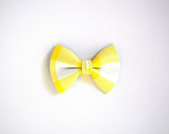 Sunshine Plaid Leather Soft Clip Little Bow for Newborn Baby Child Little Girl Adult Photo Prop Adorable Spring Summer Bright Pictures