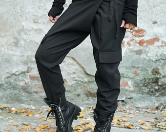 High Waisted Pants, Cargo Pants, Wool Pants, Black Harem Pants, Wool Trousers, Gothinc Clothing, Steampunk Clothing, Avant Garde Clothing