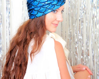 Mademoiselle Mermaid Hair Turban - Blue Fish Scales Print Head Wrap - Fantasy Fashion Accessories by Mademoiselle Mermaid