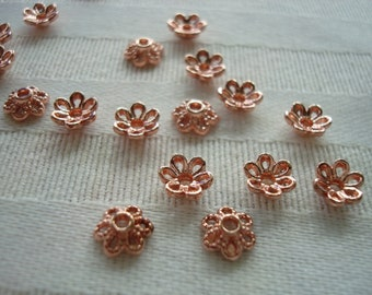 40 Littlest Rose Gold Flower Cap. 6.5mm. Miniature Cast Metal. Darling Open Rope Petal Design. Beautiful Rose Gold Bead Cap  ~USPS Rates/ OR