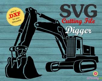 Digger SVG, Construction SVG, Excavator SVG, Building Machine, Construction Site, Tool, Worker