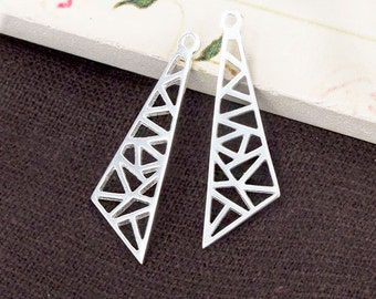 2 of 925 Sterling Silver Triangle Charms., Polish Finished  :th2501