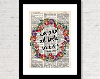 We Are All Fools In Love  - Jane Austen - Pride and Prejudice  - Eco Friendly -   Dictionary Page Art