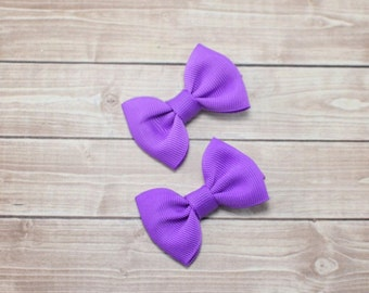Small Lavender Bows, Small Bows, Baby Clips, Lavender Bows, Small Baby Bows, Baby Hair Clips, Lavender Hair Clips, Mini Bows, Pigtail Bows