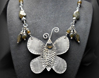 Sterling Silver Butterfly Necklace with Labradorite Stones and Handmade Chain