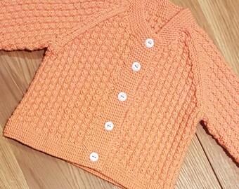 Baby cardigan, Retro 1960s hand knitted, orange