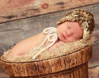 Naturally Cute Bonnet, bulky, crochet, newborn, photo prop, winter, summer, warm, stylish, fun