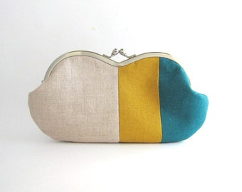 Frame Clutch Purse - Sunglasses Case - teal and yellow patchwork