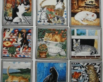 CAT Fabric Squares Calico Tabby Black White 9 Appliques Makower UK Garden Cats Scrapbooking Cards