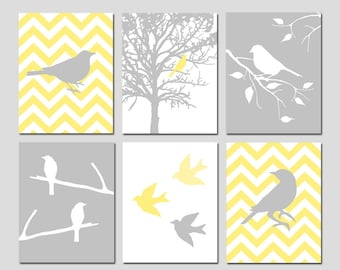 Bird Wall Art Bird Decor Bird Artwork Chevron Bird Wall Art Yellow and Grey Bird Art Set of 6 Bird Prints Nature Art - CHOOSE YOUR COLORS