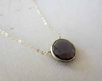 Smoky Quartz pendant necklace, Smoky Quartz gold necklace, Smoky Quartz coin shape necklace