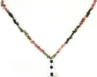 "Tourmaline gemstone chips 925 Sterling silver handcrafted 18"" necklace with Turquoise pendant 15gms"