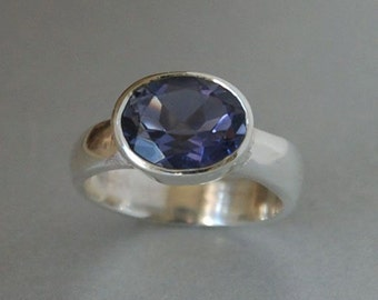 Iolite Gemstone Ring set in Sterling Silver Band, Purplish Blue, Polished, Eco Friendly