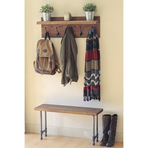 Rustic Industrial Bench, Pipe Leg Bench, Wooden Bench, Rustic Furniture, Industrial Furniture, Entryway Bench, Gifts for Him, Loft Bench