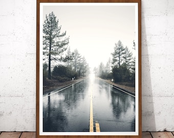 Road Photography, Forest Road, Minimalistic Art, Scenery Landscape Print, Road Digital Download, Road Print, Forest Nature Prints, Wall Art