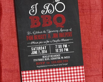 "Printable ""I Do"" BBQ Barbecue Couples/Coed Wedding Shower Invitation with Gingham"