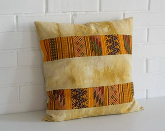 Contemporary Bohemian Pillow Cover, Botanical Dyes & Folk Mexican Textiles