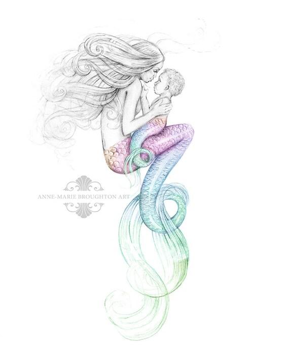 8 x 10 pouces impression m re sir ne et b b couleur splash - Barbie sirene couleur ...