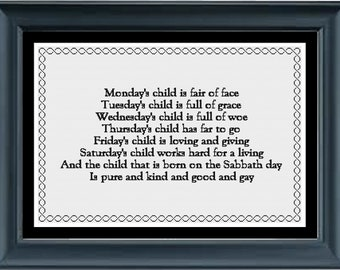 Mondays child new baby counted cross stitch needlepoint chart pattern DMC floss see description for other brands pdf digital download