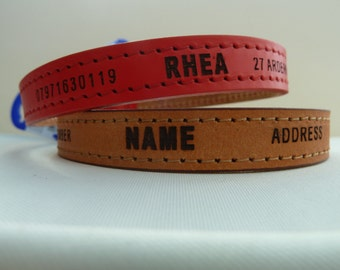 Ancol Heritage Leather Collar Personalised Laser Engraved in 2 Colours Brown and Red,3 Sizes Ex Small,Small,Medium Free P&P.