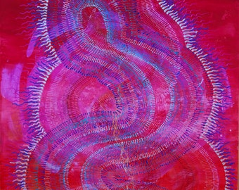 Acrylic painting/Visionary art/Kundaliny/Yoga studio decor/Wall art/Original art print/ Print on wood/Healing art
