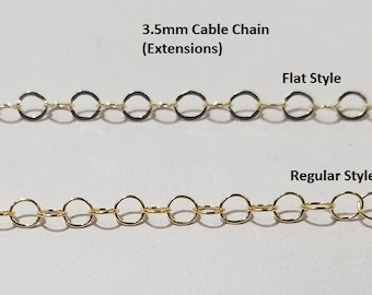 Gold Filled Round 3.5mm Cable Chain, Small, Pick your Length, Price by the Foot