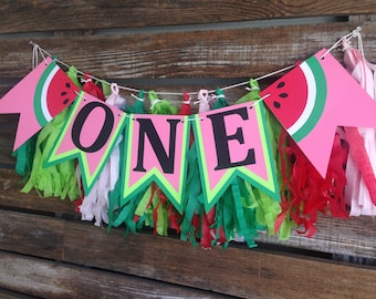 Watermelon One High Chair Banner - One In A Melon Party, First Birthday, Baby Shower, Birthday Party, Summer Party, Photo Prop