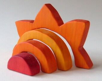 Sun Stacker Waldorf Wooden Toy Orange