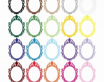 Frame Clip Art Antique Filigree Oval Instant Digital Downloadable Image Clipart Frames Digital Border